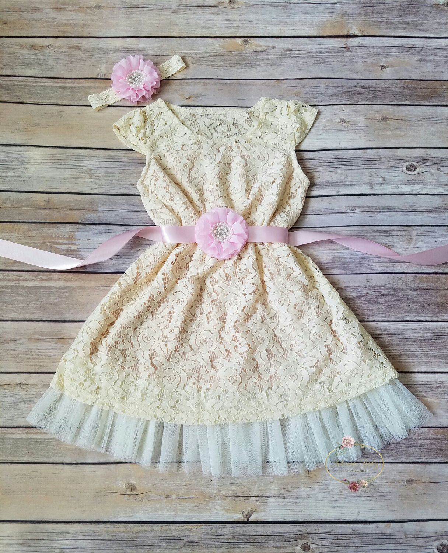 Girl dress lace flower girl dress rustic flower girl dress