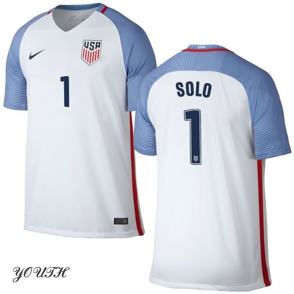 197de67d107 16 17 Hope Solo Youth Home Jersey  1 USA Soccer