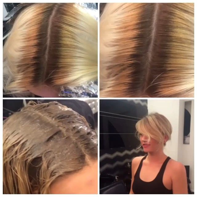 Starting Roots 1 Inch Band Of Orange 1 1 4 Inches Rest Of The Hair Platium Formula 1 Lowlig Color Correction Hair Honey Blonde Hair Blonde Hair With Roots