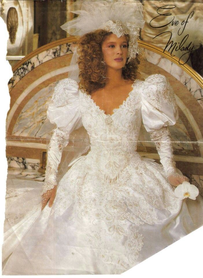 I Like The Bead Trim At Point Of Basque Waist Vintage Wedding Dresses 1980 Google Search