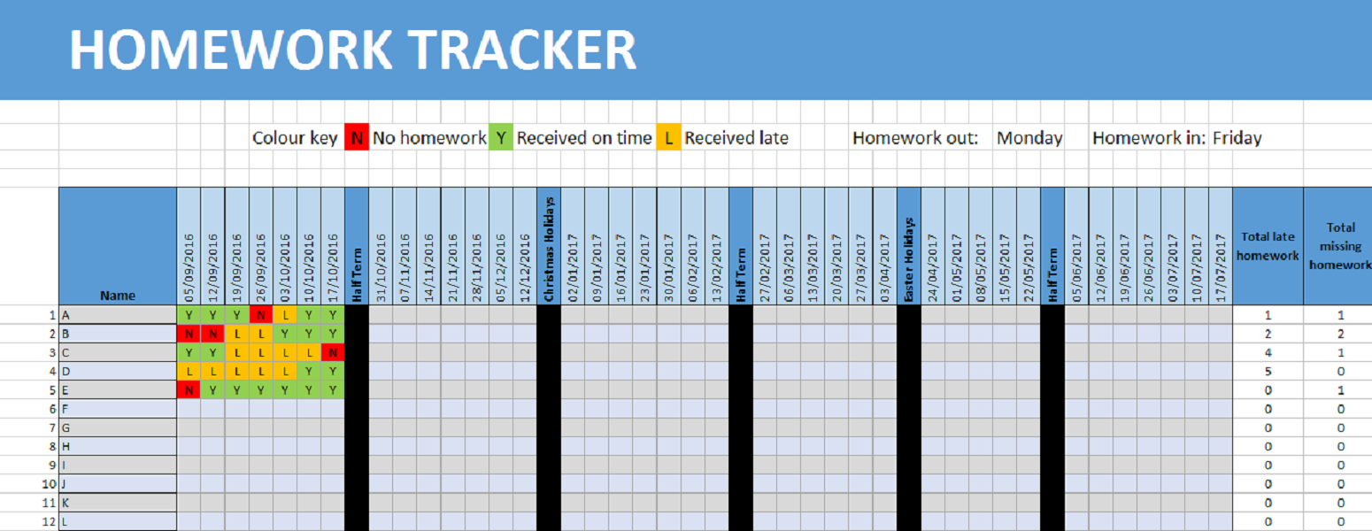An excel spreadsheet which automatically updates the