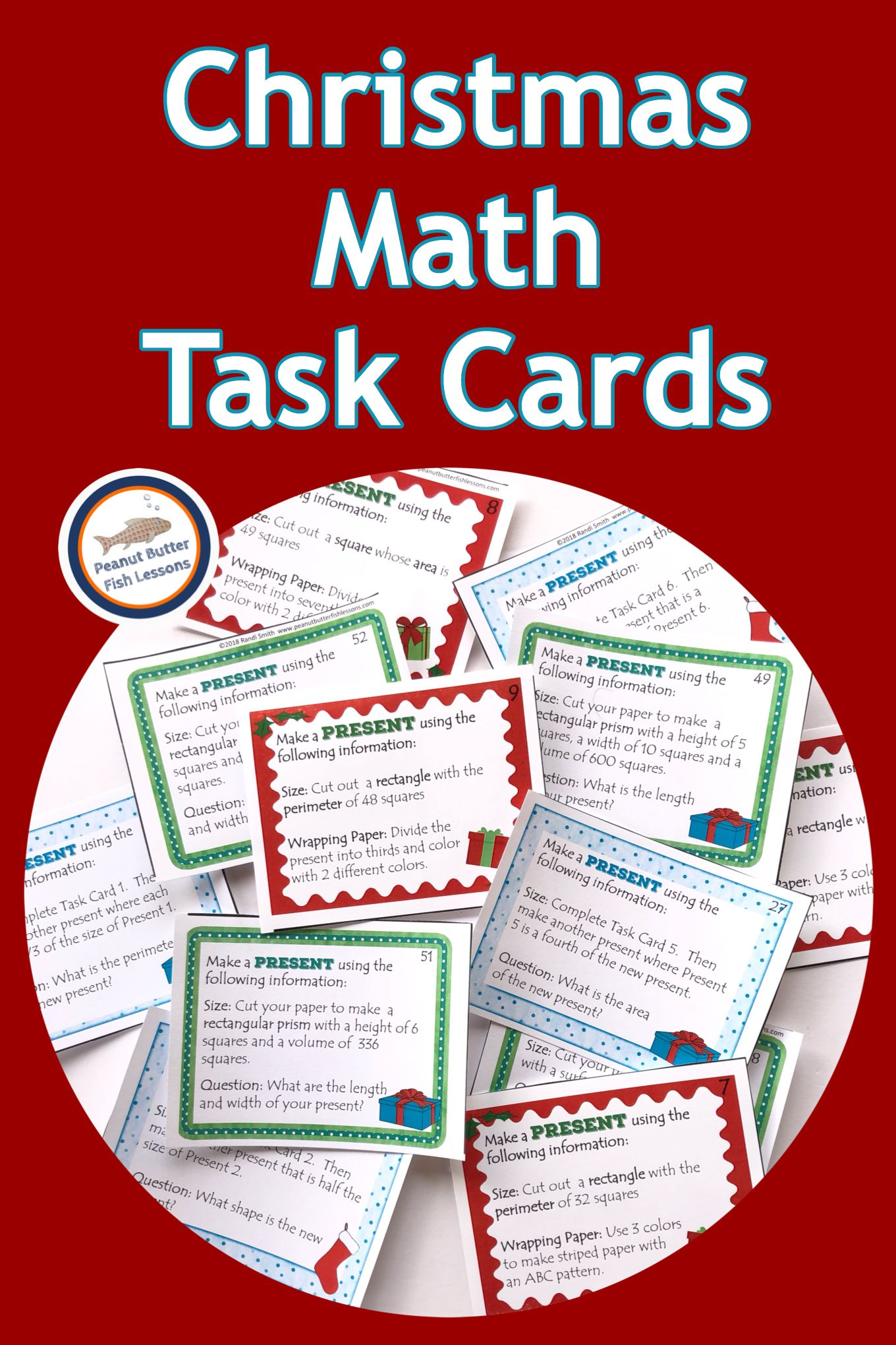 Christmas Present Perimeter Area Volume Task Cards