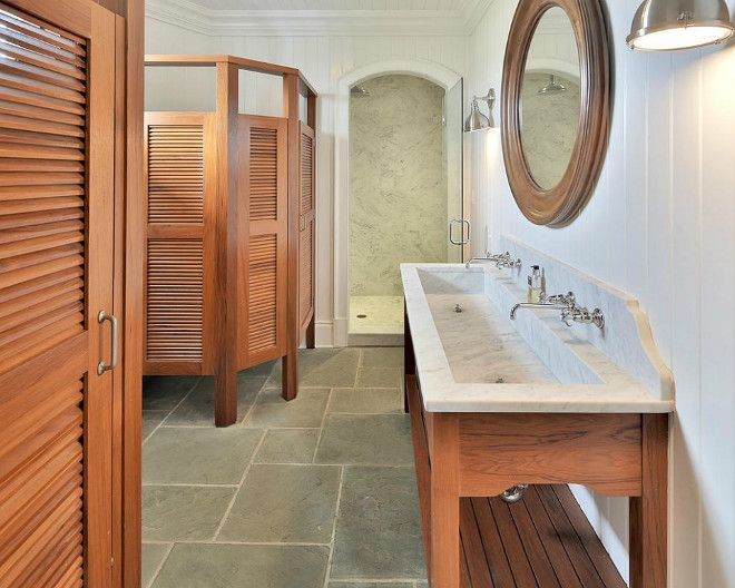 Pool House Bathroom Ideas Extraordinary Notice Large Sink And Multiple Stalls Could Be Made For Showers Inspiration