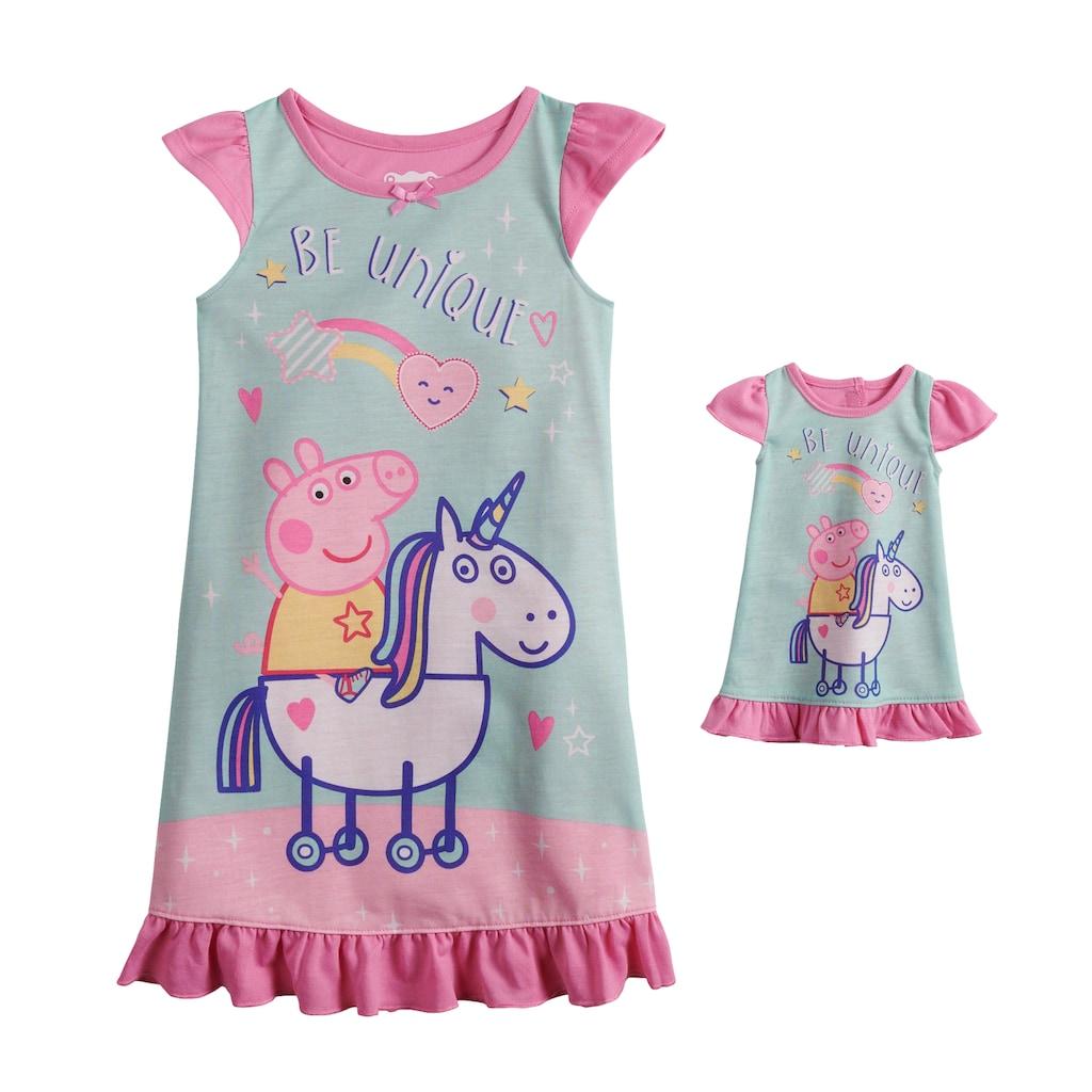 Peppa Pig Toddler Girls Short Sleeve Dress Up Fantasy Gown Nightgown Pajamas