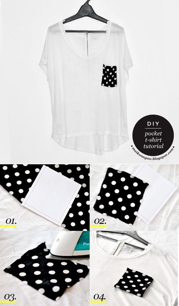 Maiko Nagao Diy Pocket T Shirt Tutorial Plus Free Pattern T Shirt Tutorial T Shirt Diy Shirt Tutorial