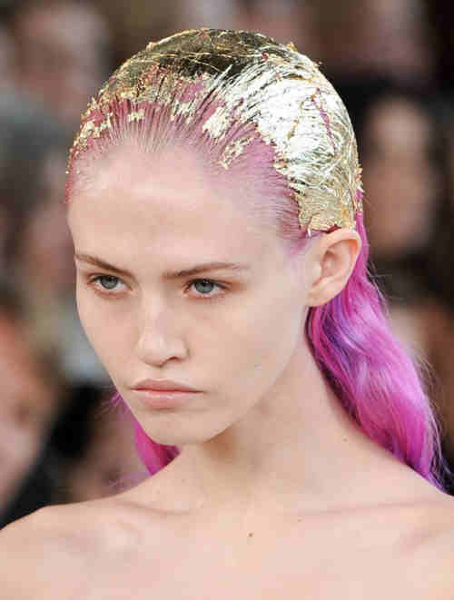 Gold foil treatment; pink hair