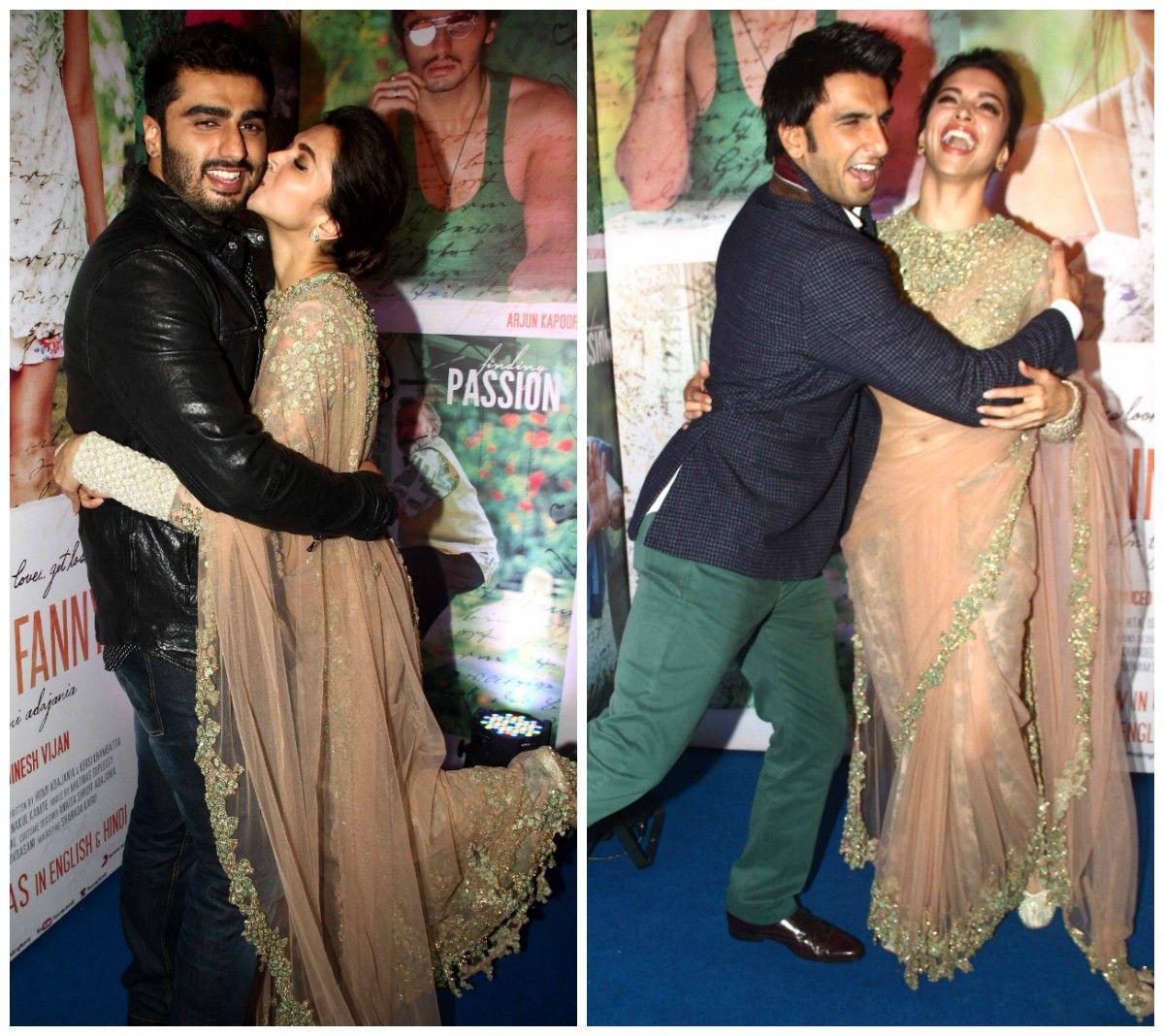 Deepika Padukone Hugs Alleged Boyfriend Ranveer Singh Kisses Arjun Kapoor Photos Ranveer Singh Bollywood Celebrities Deepika Padukone