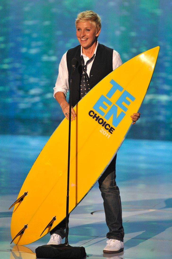 Pin for Later: A Look Back at the Best of the Teen Choice Awards  Ellen DeGeneres brought home a board in 2011.
