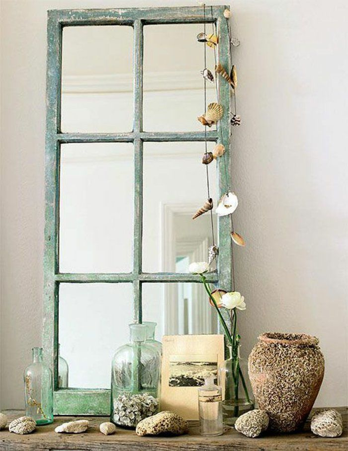 dekoideen diy alte gegenstände fensterrahmen spiegel selber machen - dekoration schlafzimmer selber machen