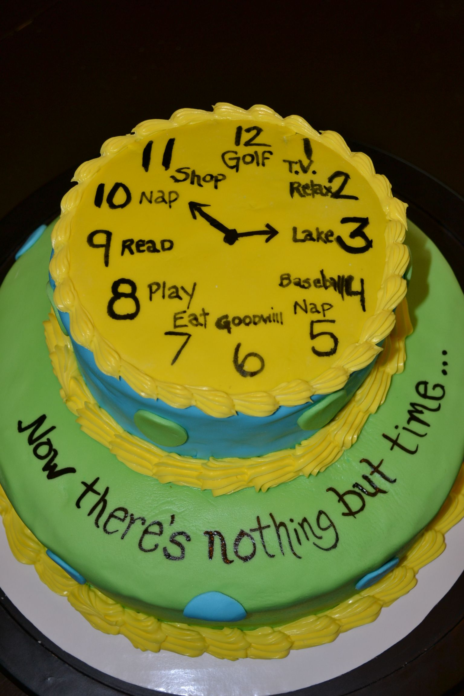Cake Decoration Ideas For Retirement : Nothing but time - Retirement Cake Sue Ann s Custom ...