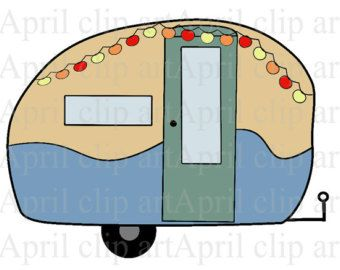 50% off Sale Camper, Travel Trailer 1, Digital Clip Art, Digital clipart scrapbooking, card making, invitations, tag, label