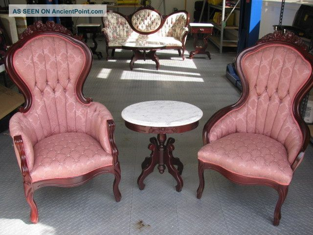Vintage Victorian Style Chairs And Marble Tea Table By Kimball. Dining Chairs Pair of Vintage Kimball Victorian Rose Carved