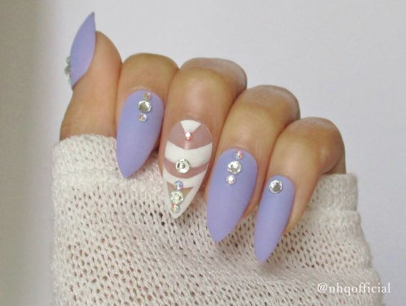 Stiletto Nails In A Matte Nails Design Rhinestones Dope Nails In