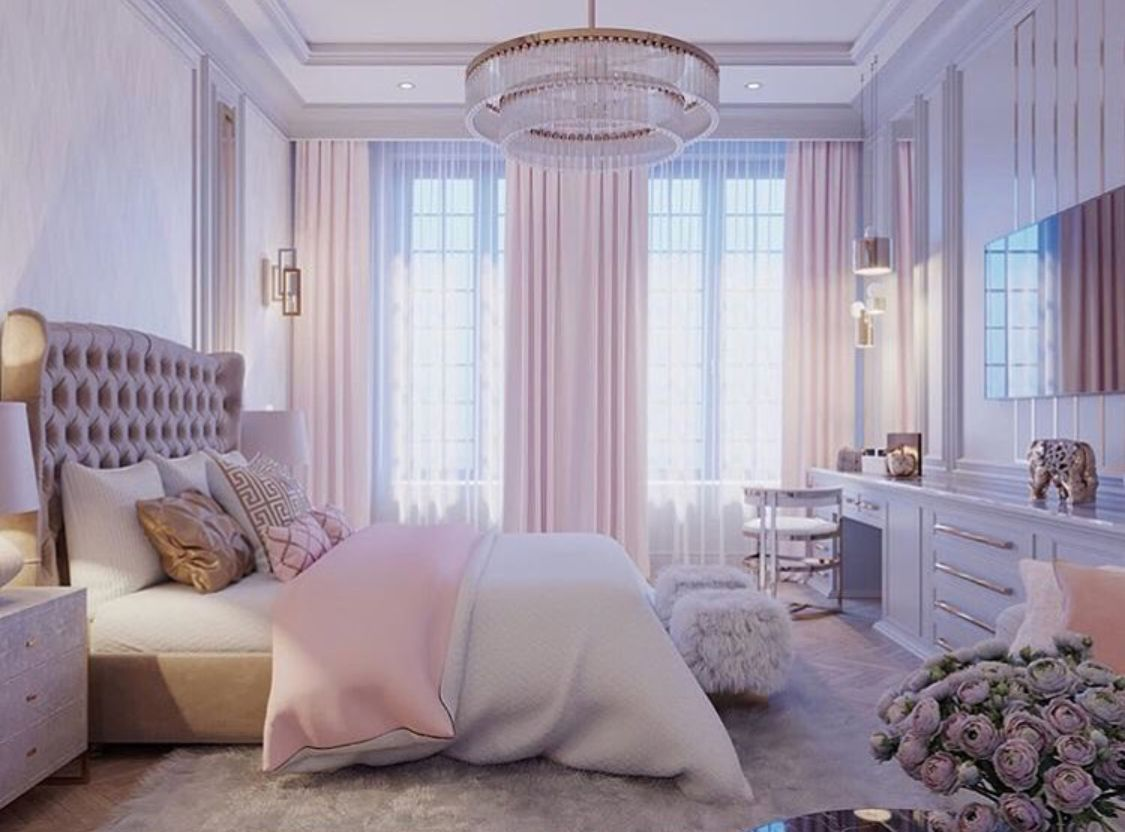 White and pink bedroom with gold accents - Bedroom inspiration ...