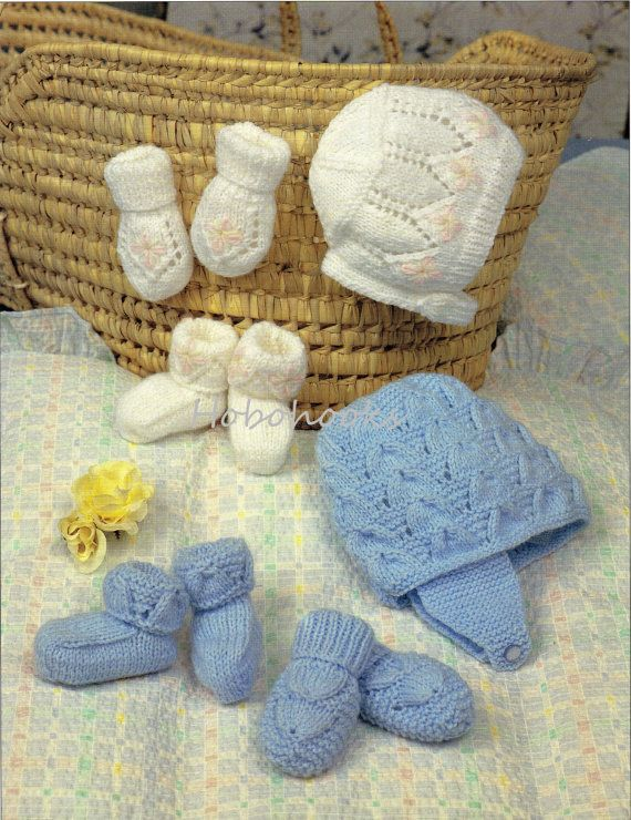 Baby Bonnet Helmet Mitts Bootees Booties Knitting Pattern Pdf Baby