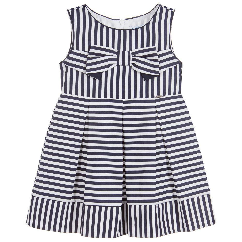 e86ccc328b04 Mayoral Girls Navy Blue Striped Dress at Childrensalon.com