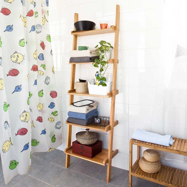 Regal Bambusowy Drabina Bambusowa 5 Polek Shelves Wall Storage Bamboo Shelf