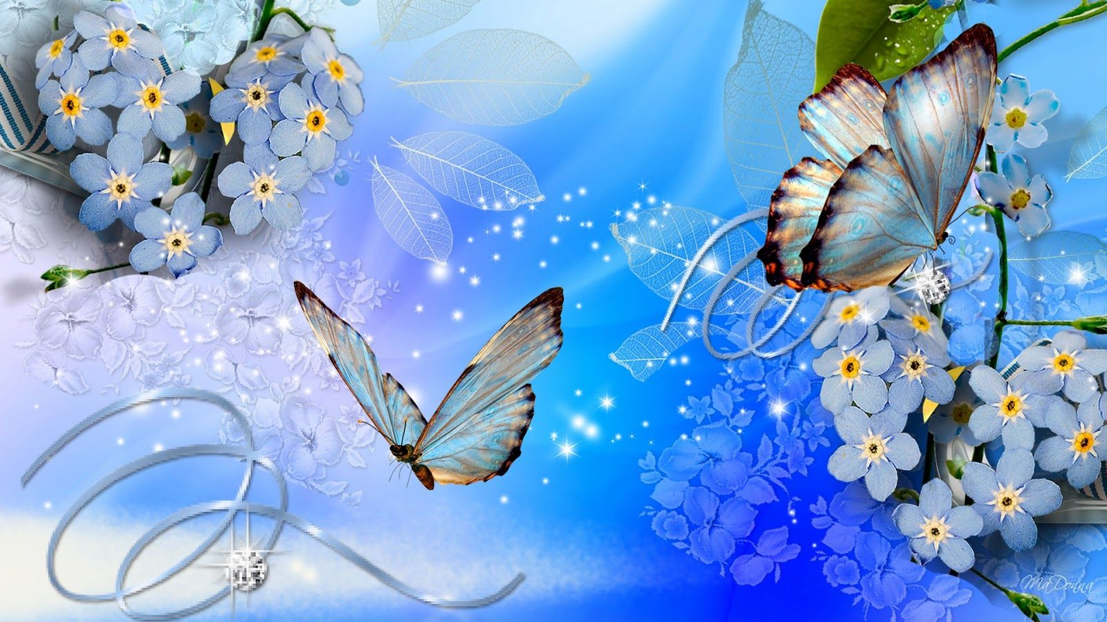 Blue Butterflies Blue Flowers Wallpaper Download Beautiful