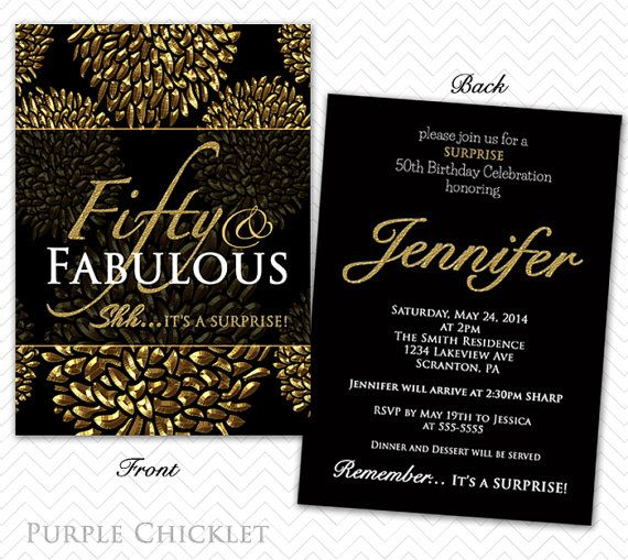 50th Birthday Surprise Party Invitation Gold Flower Bursts floral