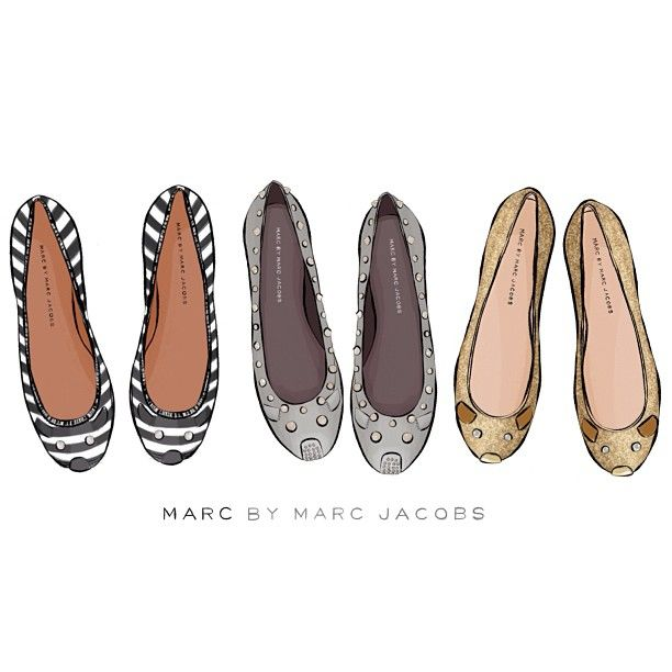 """Couldn't resist lining them up ☺ @marcjacobsintl mouse #balletpumps studded, stripped and glittery! Sally Cotterill © 2013 #illustrator…"""