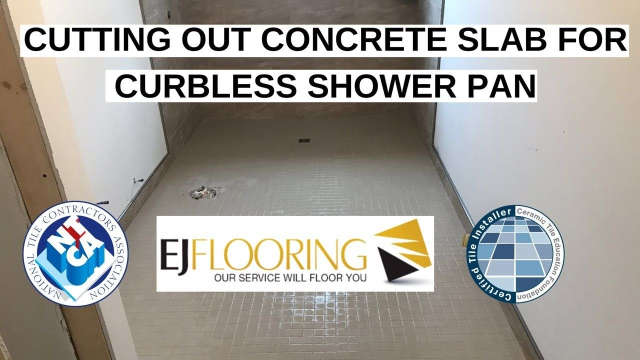 How To Install Curbless Shower In Concrete Slab Ada Compliant Youtube Concrete Slab Curbless Shower Pan Concrete