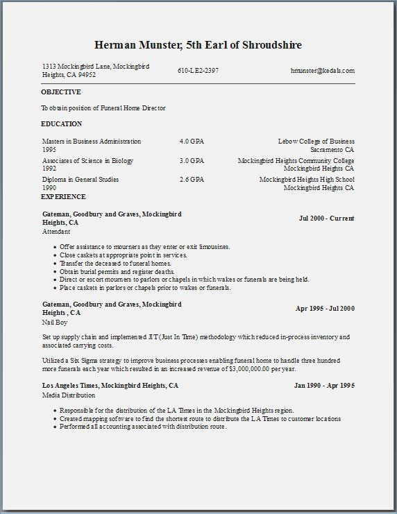free resume templates listing education first
