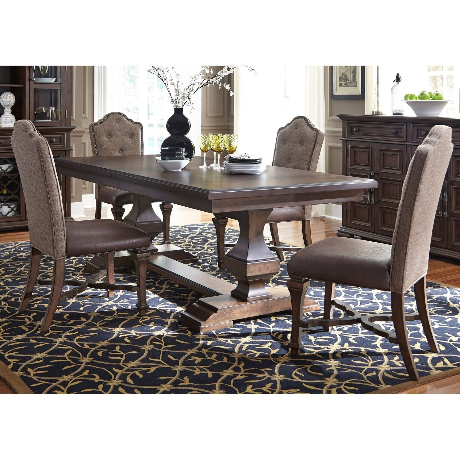 Liberty Lucca Cordovan Brown 5 Piece Double Pedestal Table Set, Size  5 Piece Sets