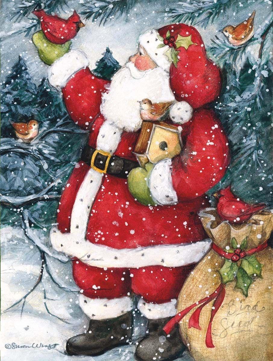 Susan Winget — Snowy Santa Christmas Cards (906x1200) | santa ...