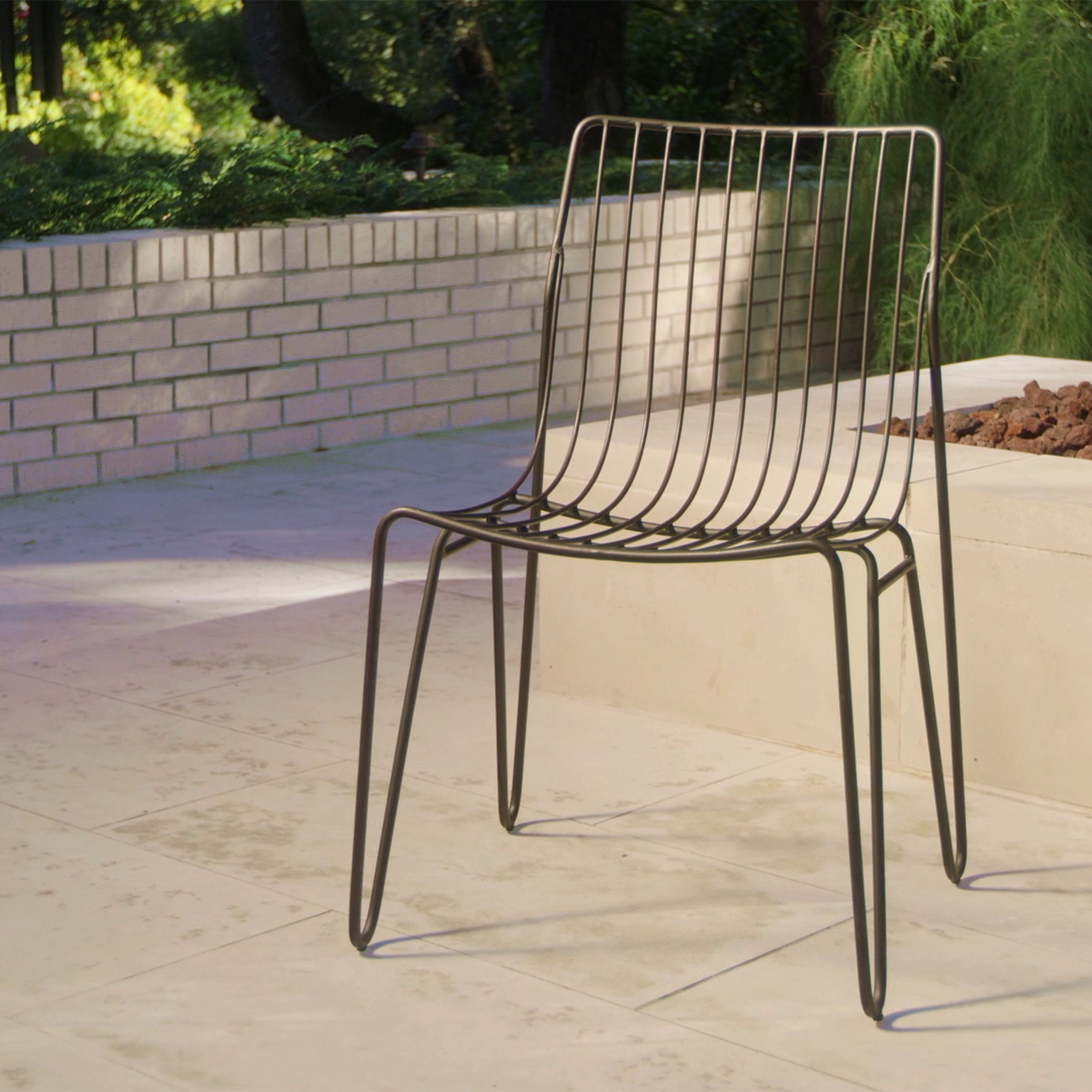 Vintage mid century modern metal folding wire mesh patio chairs - Featuring Mid Century Inspired Hairpin Legs Our Metal Chairs Stack For Compact Storage
