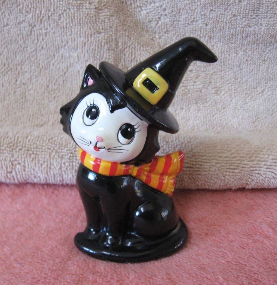 Vtg LEFTON Halloween Black Cat Witch Hat Ceramic Figurine