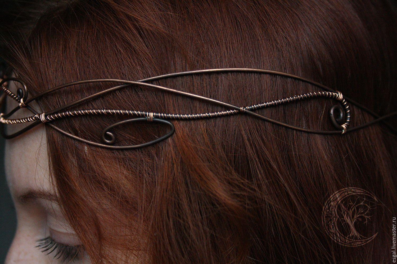 Купить Ободок-диадема медная № 1 - венец, диадема, фентези, медь, ободок для волос