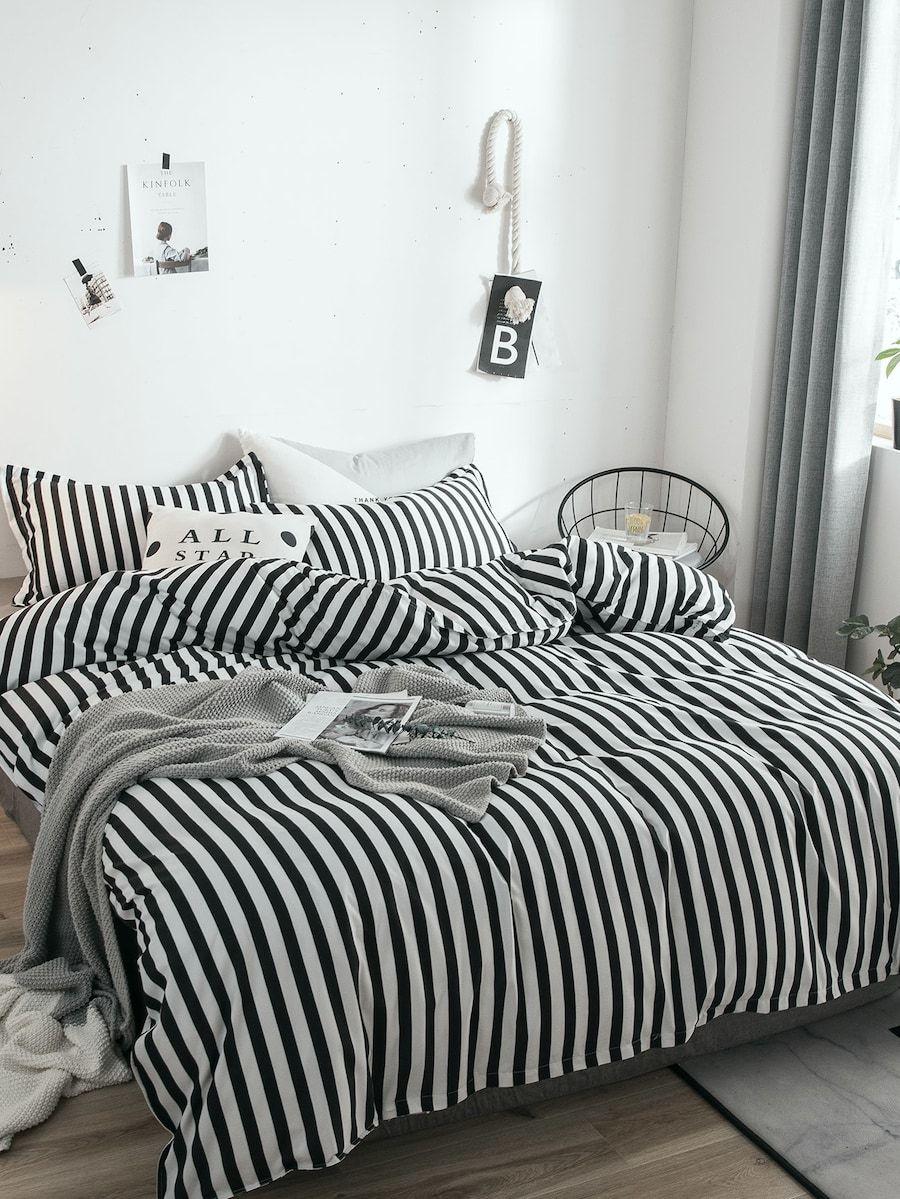 d58d73ce5b Striped Print Duvet Cover 1PC -SHEIN(SHEINSIDE) | Living Space Ideas ...