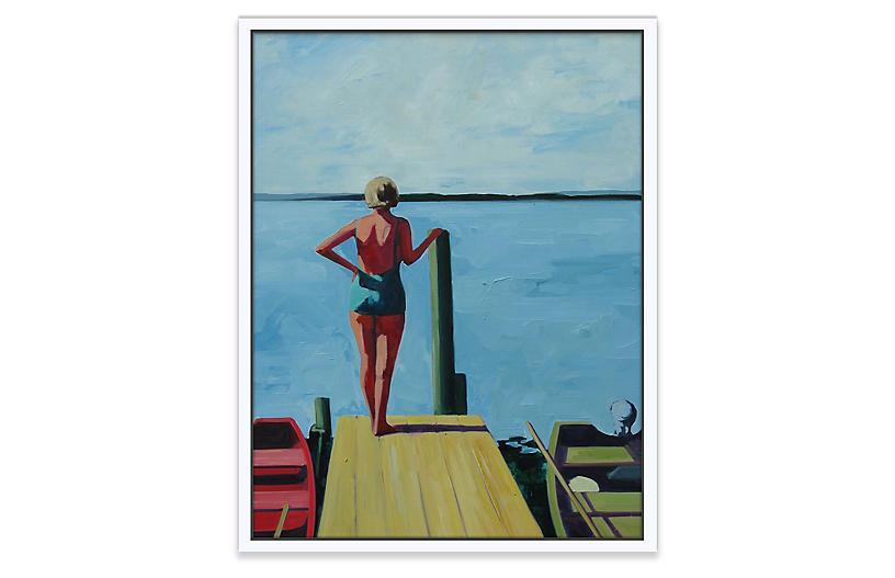 T S Harris The Lake 48 L X 35 W Lake Painting Lake Art