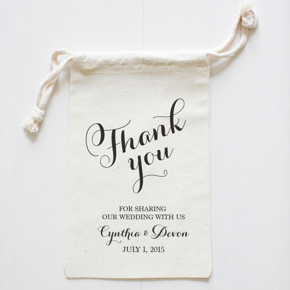 Fancy Thank You Wedding Favor Bags | Favor bags, Favours and Custom ...