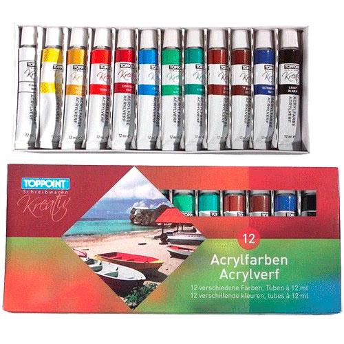 Set van 12 tubes acrylverf in 12 verschillende kleuren. Inhoud per tube: 12 ml. Afmeting: verpakking 22,5 x 10 x 2 cm.Geschikt voor: Vanaf 3 jaar - Acrylverf, 12st.