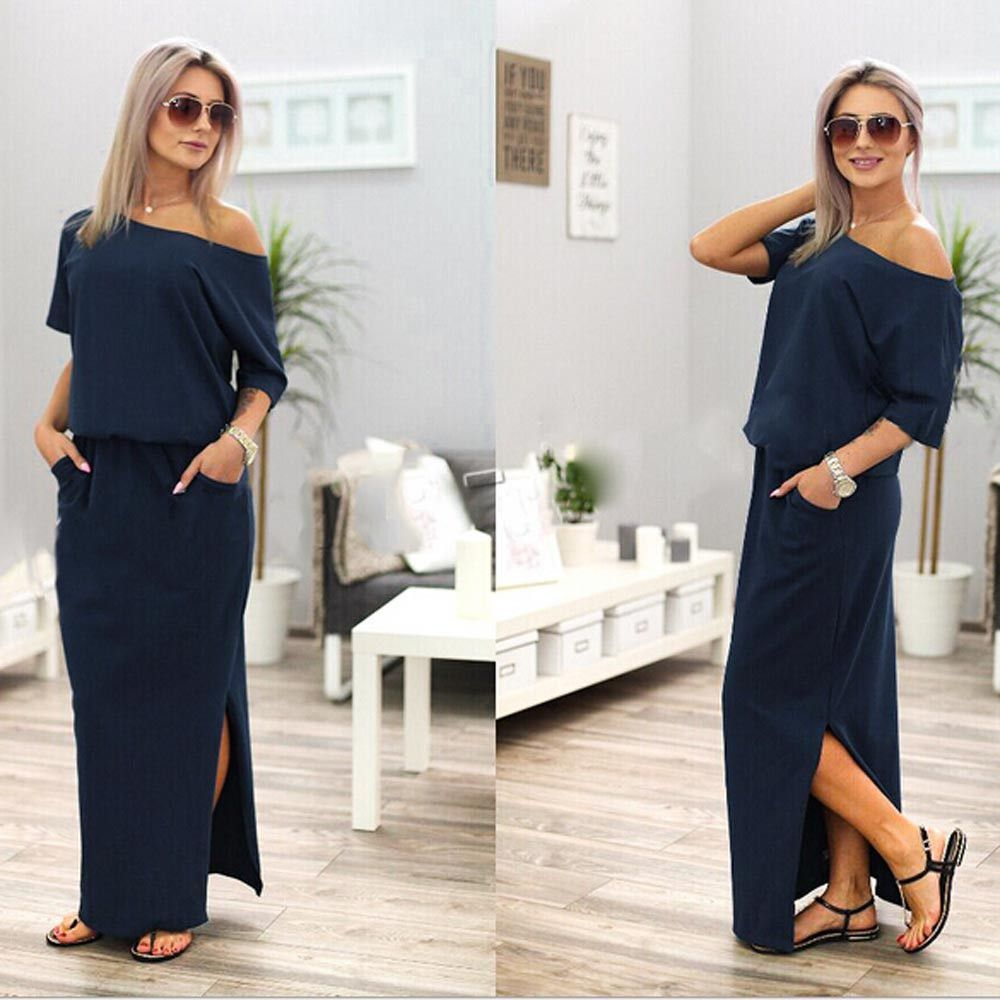 Emma sideslit maxi dress with pockets in clothes