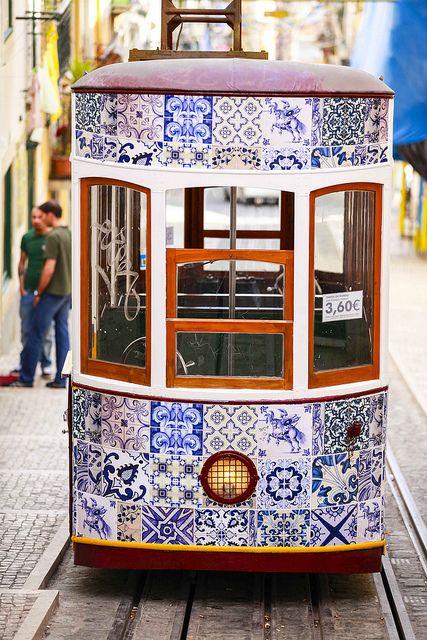 Bica tram with temporary intervention - portuguese tiles, by Diário de Lisboa1, via Flickr
