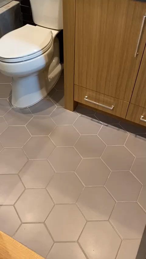 Grey subway tile with a glossy finish in newly designed bathroom. #ihavethisthingwithtile #happyhomedesigner #luxuryhomedesign #luxuryhomedecor #luxuryrealestate #customhome #homedesigner #homedesigners #designerhomes #luxurylifestyle #hardscapebrotherhood #bathroomtile #bathroomdecor #bathroomdetails #kitchenthings #kitchentile #kitchenreno #flooringideas #ihavethisthingwithcolor #losangelesbuilder #losangelesrealestate #luxuryrealestate #larealtor #ocrealestate #ocrealestateagent