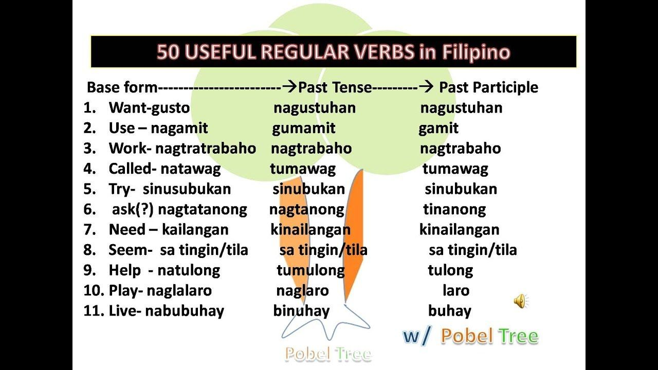 50 Useful Regular Verbs In Filipino Home Lesson Tagalog Words Filipino Words Lesson Plan In Filipino English to tagalog worksheet