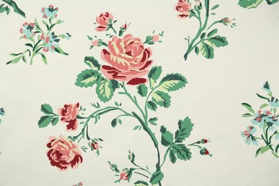 1950s Vintage Wallpaper - Floral Wallpaper with Pink Roses and Blue Flowers - Nancy McClelland #blueflowerwallpaper