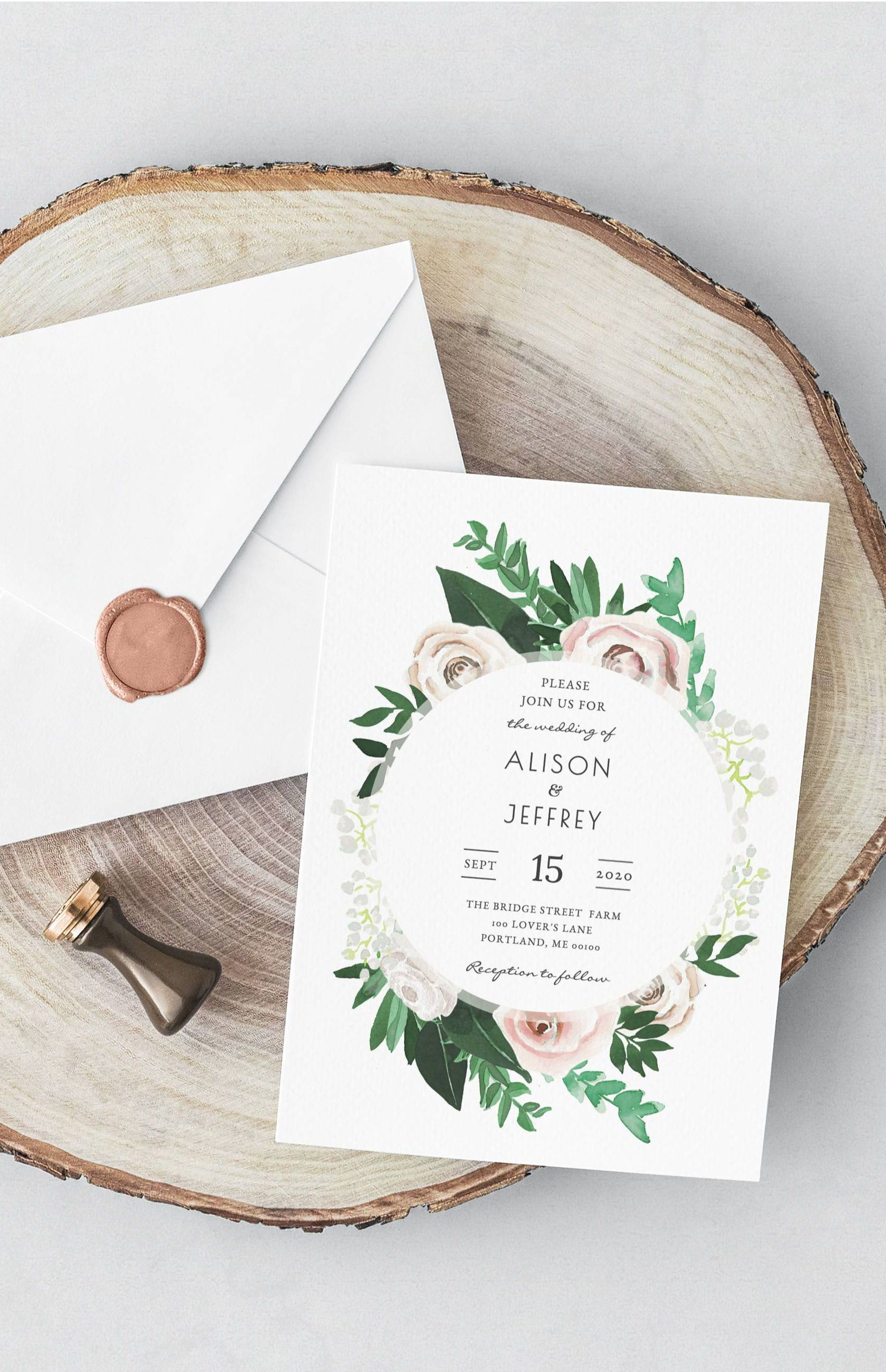 Gorgeous Watercolor Floral Green And White Wedding Invite Template From Etsy Wedding Invitations Diy Creative Wedding Invitations Wedding Invitation Templates