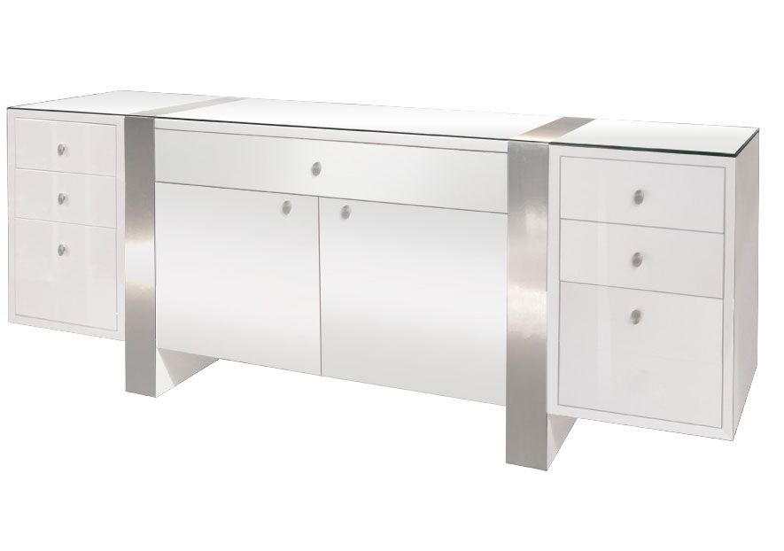 Nero Lacquer The White Desk And Credenza Are Large Efficient Executive Office Furniture With Its Drawers File Gl