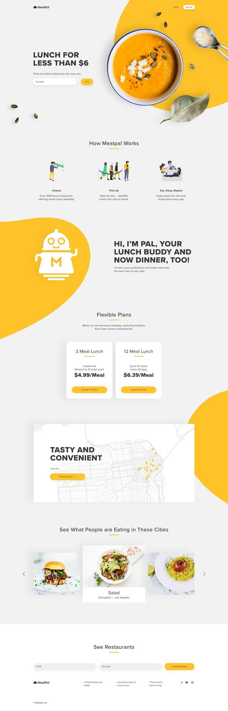MealPal — Landing page redesign   Web layout design, Web design, Website design layout