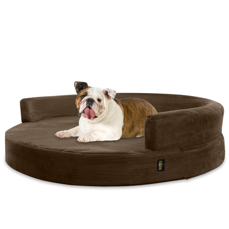 Divano In Memory Foam.Kopeks Divano Letto Rotondo Cuscino Per Cane L Grande Materassi Memory Ortopedico Dimensione Diametro Di 90 Cm L Marrone In 2020 Dogs Animals Lounge
