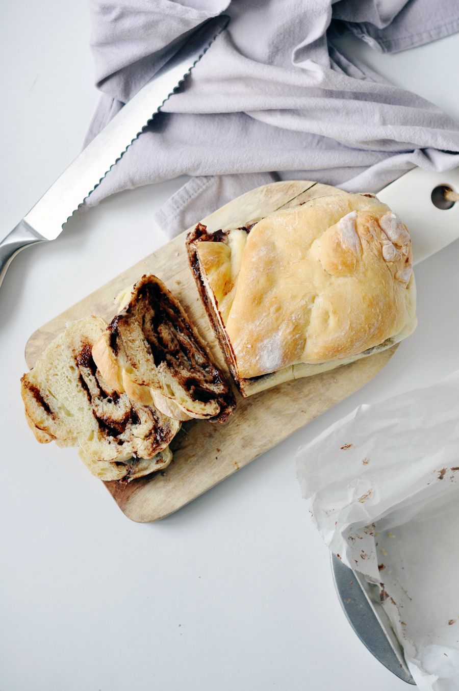 six ingredient braided nutella banana bread