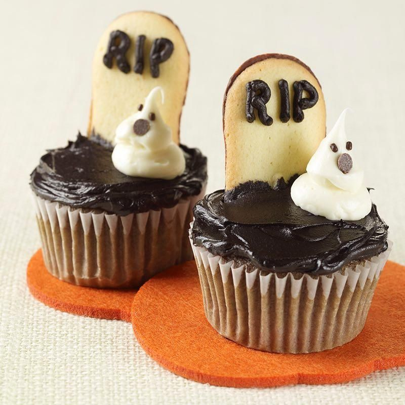 A frightfully fun decoration for cupcakes The spooky ghosts are - halloween cupcake decor