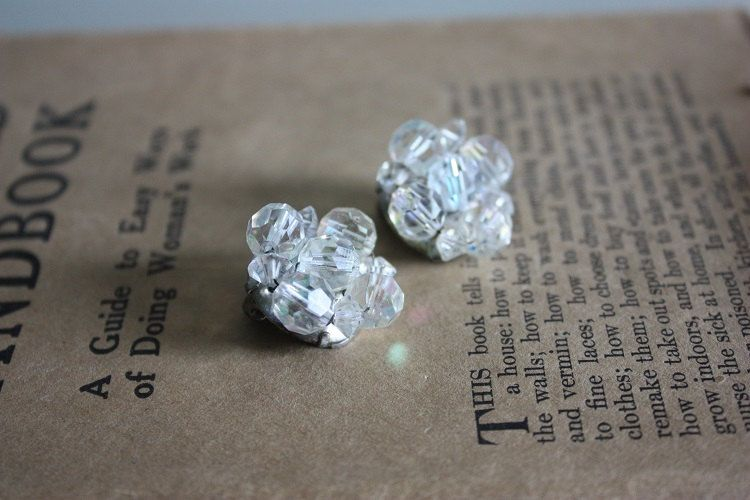 Rhinestone Clip On Cluster Earrings by madjoy22 on Etsy