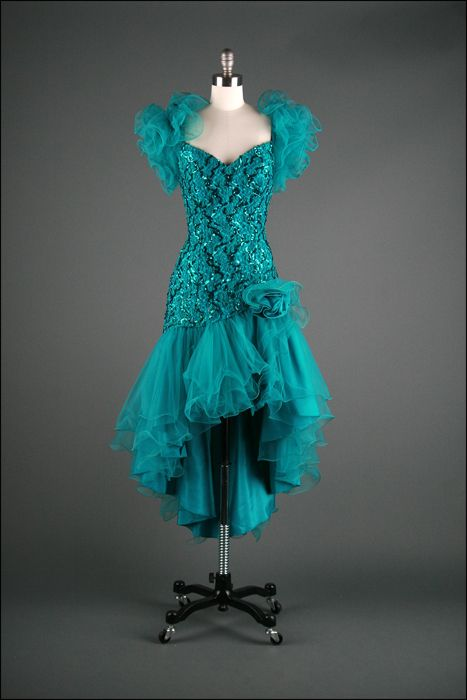 Vtg 80s Green Taffeta Tulle Puff Sleeve Prom Cocktail Party Dress  Vintage Dresses in 2019