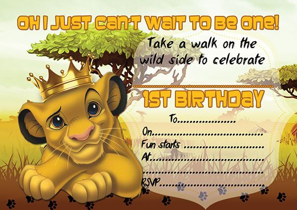 10 X Children Kids Birthday Party Invitations The Lion King In 2019
