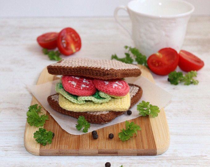 Häkeln Sandwich / häkeln spielen Essen / vorgeben Lebensmittel / Amigurumi Essen / Küche Dekor / häkeln Essen